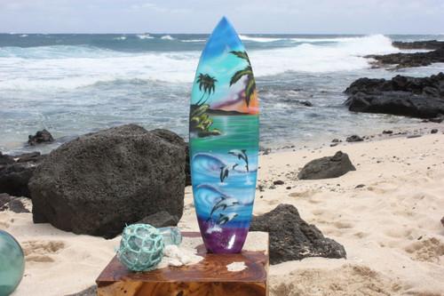 "Surfboard w/ Island Sunrise 20"" - Surf Decor Hawaii - Trophy   #lea05j50"