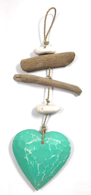 "Driftwood Garland Heart w/ White Stone 12"" Turquoise 