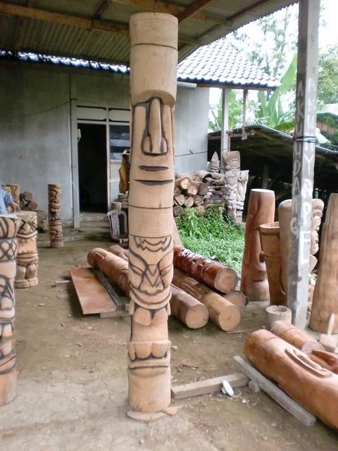 Easter Island Moai & Big Kahuna Tiki Totem 7 Foot - Burnt Finish | #lbj30018200