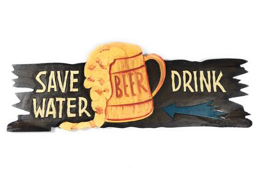 """Save Water, Drink Beer"" Tiki Bar Sign - Beer Sign   #ksa903450"