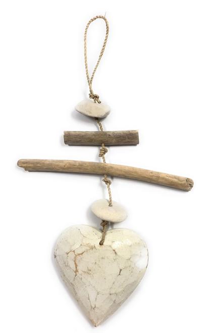 "Driftwood Garland Heart w/ White Stone 12"" White | #lis3100630w"