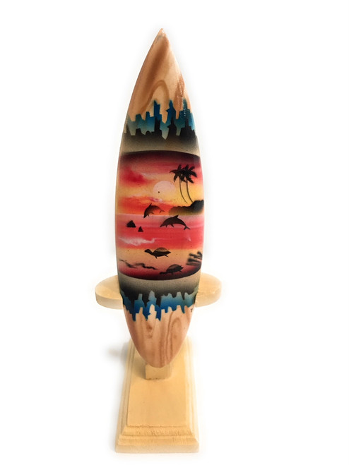 "Surfboard w/ Stand Sunset Design 6"" - Trophy 