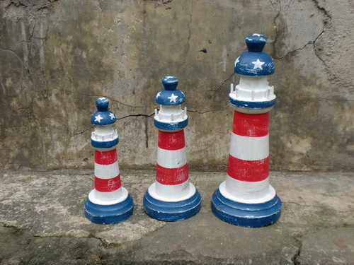 "Set of 3 Lighthouses 9"", 8"" & 7""- Americana Flag Decor - USA   #ort17084"