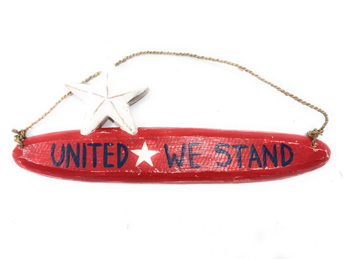 "United We Stand Americana Wooden Sign 14"" - Texas Decor Accent 