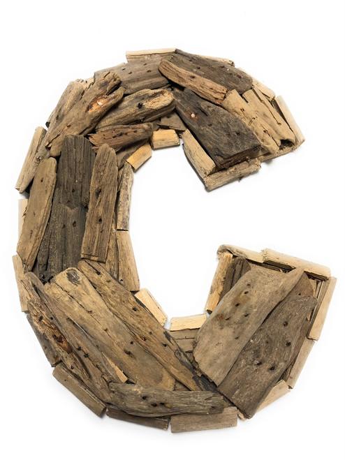 """C"" Driftwood Letter 10"" Home Decor - Rustic Accents | #lis31001c"