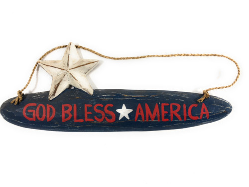 "God Bless America Americana Wooden Sign 14""Texas Decor 