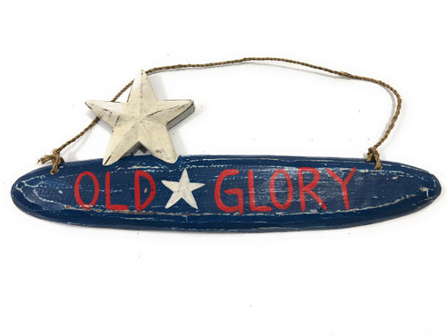 "Old Glory Americana Wooden Sign 14"" - Texas Decor Accent 