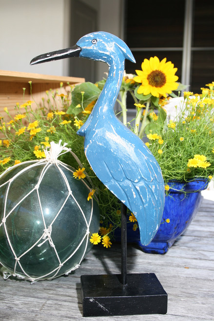 "Decorative Heron Bird 14"" Wooden - Blue Rustic Nautical Decor   #ort1705034b"