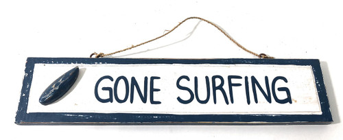 "Gone Surfing 12"" Sign - Rustic Coastal Decor Blue 