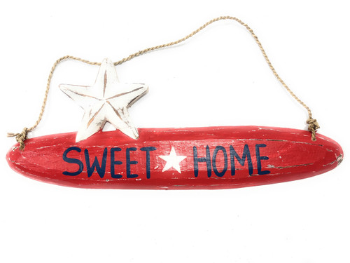 """Sweet Home Americana Wooden Sign 14"""" - Red Texas Decor 