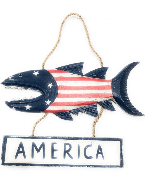 "America Sign 15"" Shark Attack - Americana Decor Texas Accent 