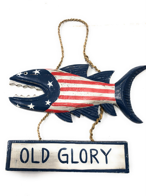 """Old Glory Sign 15"""" Shark Attack - Americana Decor Texas Accent 