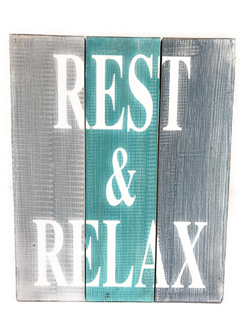 """Rest & Relax"" Turquoise Sign on Wood Planks 12"" X 9.5"" 