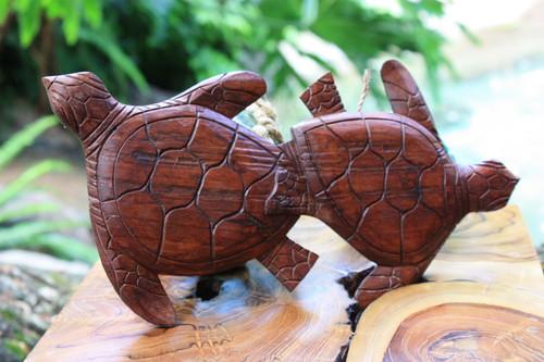"Carved Turtles Wall Plaque 12"" X 6"" - Hawaiian Decor   #ksa9037"