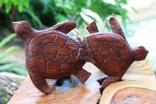 "Carved Turtles Wall Plaque 12"" X 6"" - Hawaiian Decor | #ksa9037"