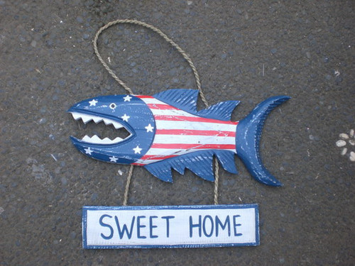 """Sweet Home Sign 15"""" Shark Attack - Americana Decor Texas Accent   #ort17088"""