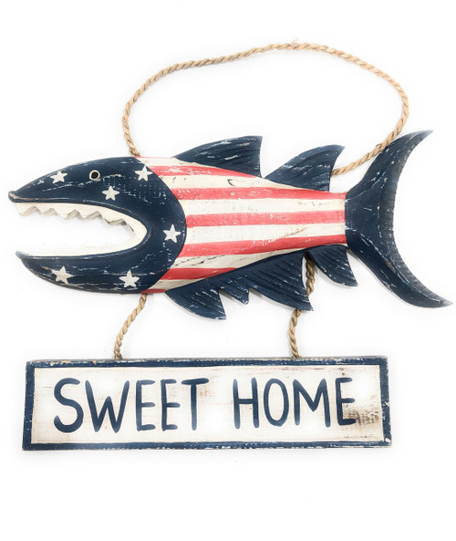 """Sweet Home Sign 15"""" Shark Attack - Americana Decor Texas Accent 