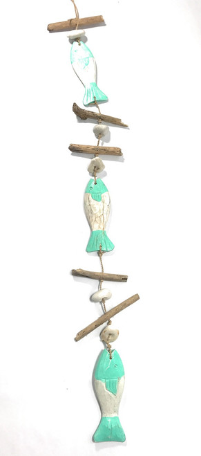 "Driftwood Garland Fish w/ White Stone 40"" Turquoise - Cottage Accents 