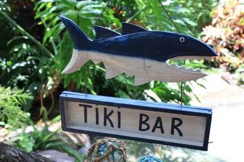 """Tiki Bar Shark Attack Sign 15"""" - Tiki Bar Decor   #ksa9038"""