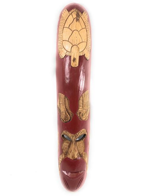 "Fijian Tiki Mask w/ Carved Turtle  - 40"" Ocean - Wall Decor | #mdr19005100"