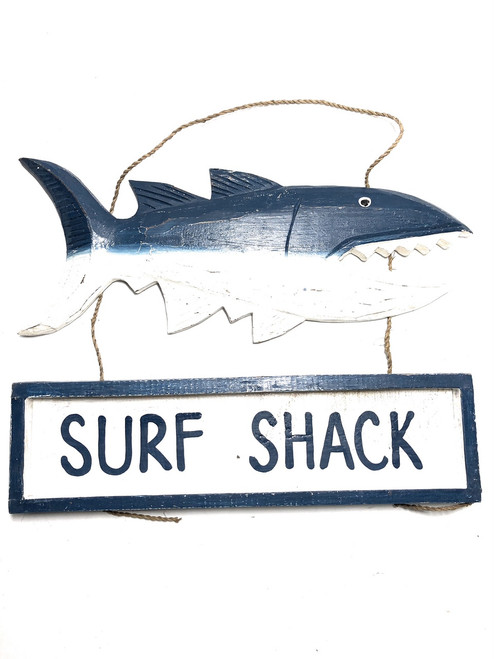 "Surf Shack Shark Attack Sign 15"" - Tiki Bar Decor 