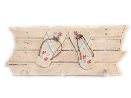 "Hanger w/ Slippers ""Island Style"" 3 Pegs 20 inch - White 