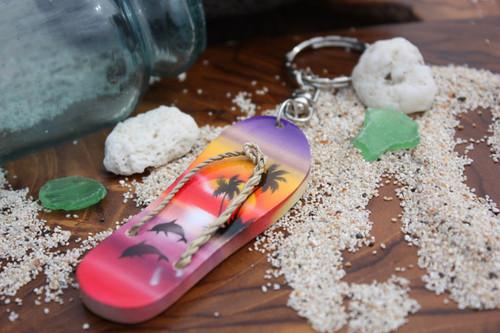 Keychain Slipper w/ Dolphin and Palm Trees #3 - Hawaiian Style