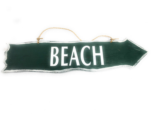 "Beach Driftwood Sign 20""Olive Green - Beach Decor 