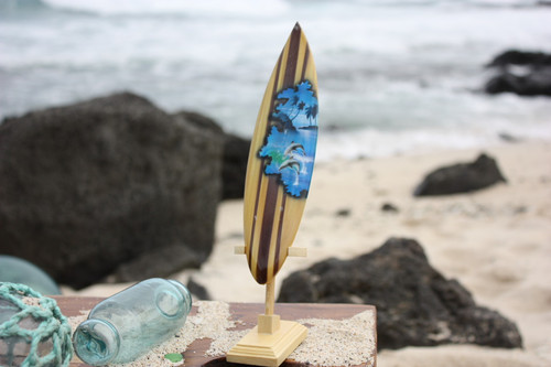 "Surfboard w/ Stand Dolphins Design 8"" - Trophy 