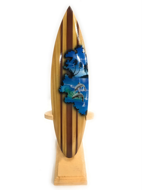 """Surfboard w/ Stand Dolphins Design 8"""" - Trophy 