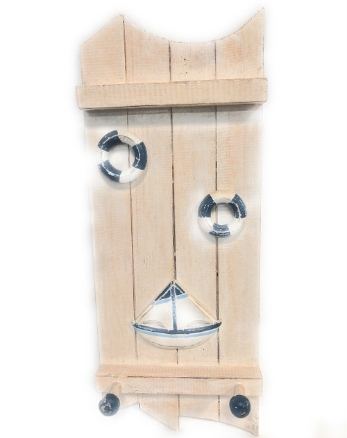 "Sailboat & Life Ring Hanger 20"" w/ 3 Pegs - Nautical Decor Accents 