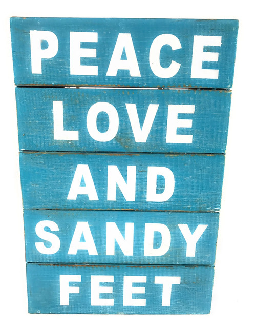 """Peace, Love And Sandy Feet"" Beach Sign on Wood Planks 12"" X 8"" 