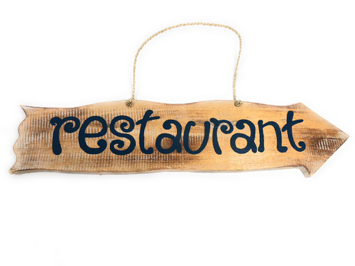 "Restaurant Driftwood Sign 20"" - Tiki Bar Decor 