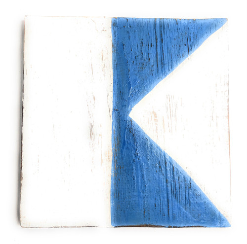 "A Nautical Alphabet Wooden Plaque 7"" X 7"" - Coastal Decor | #skn16017a"