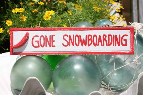 "Gone Snowboarding 12"" Sign - Rustic Coastal Decorative Blue | #Ort1703330r"