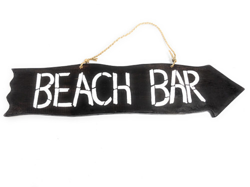 "Beach Bar Driftwood Sign 20"" - Tiki Bar Decor 