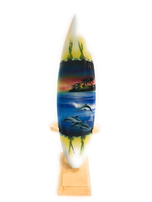 "Surfboard w/ Stand Dolphins In Shorebreak Design 8"" - Trophy 
