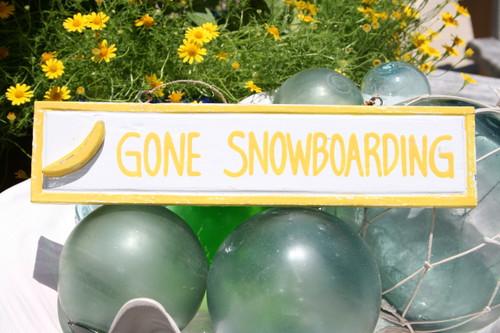 "Gone Snowboarding 12"" Sign - Rustic Coastal Decorative Blue | #ort1703330y"