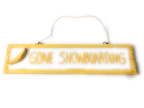 "Gone Snowboarding 12"" Sign - Rustic Coastal Decorative Blue   #ort1703330y"