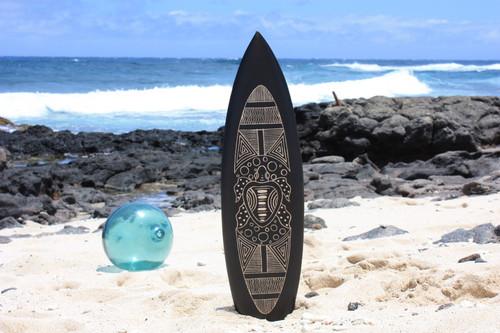 """Wooden Surfboard w/ Tribal Turtle 30"""" - Hawaii Decor   #sur16f75"""