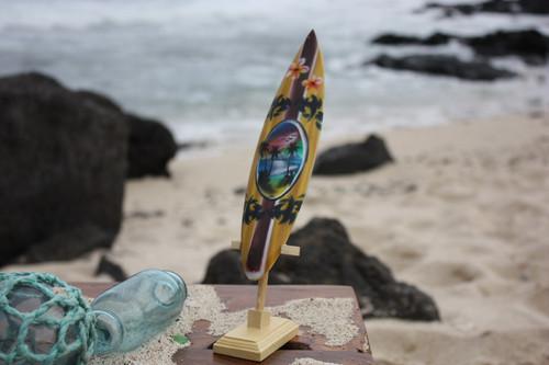 "Surfboard w/ Stand Palms & Plumeria Design 8"" - Trophy   #lea02f20"