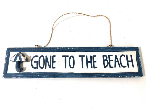 "Gone To The Beach Sign 12"" - Rustic Yellow Decorative Coastal Decor 