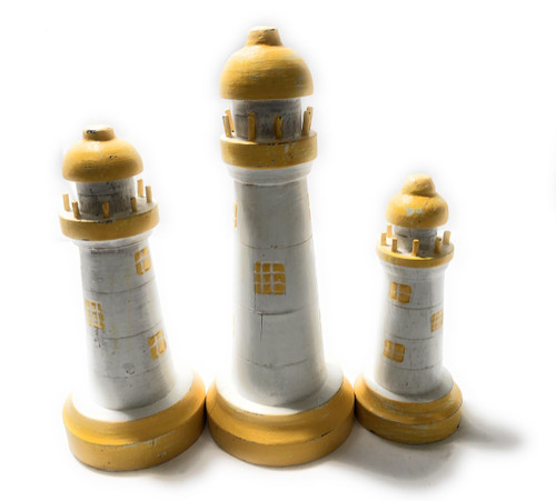 "Set of 3 Lighthouses 9"", 8"" & 7"" - Yellow Nautical Decor 