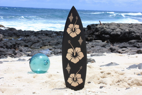 "Wooden Surfboard w/ Hibiscus Flowers 30"" - Surf Decor 