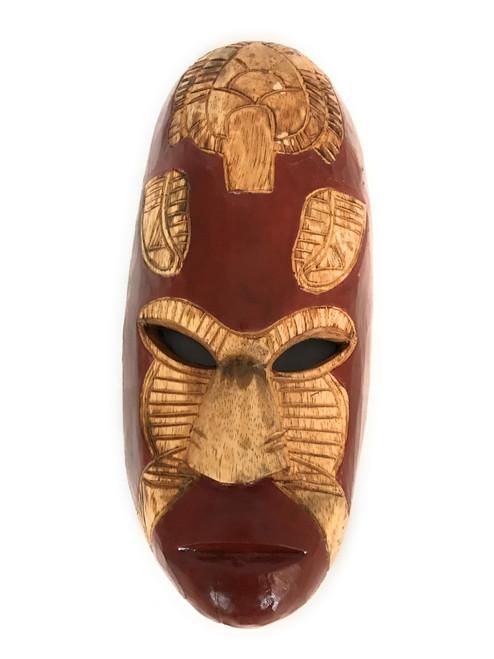 "Fijian Tiki Mask w/ Carved Turtle - 12"" Ocean Tiki Polynesian Art | #mdr1900530"