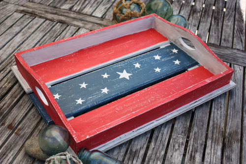 "Americana Wooden Tray 21"" X 15"" - Texas Beach House Decor | #ort17093b"
