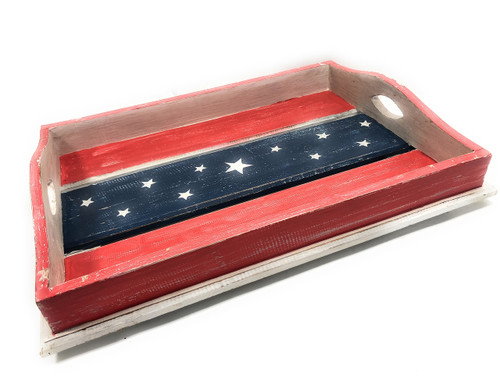 "Americana Wooden Tray 21"" X 15"" - Texas Beach House Decor 