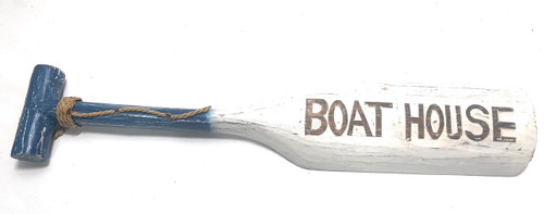 "Boat House Oar 22"" Wall Hanging - Rustic Blue Nautical Decor 