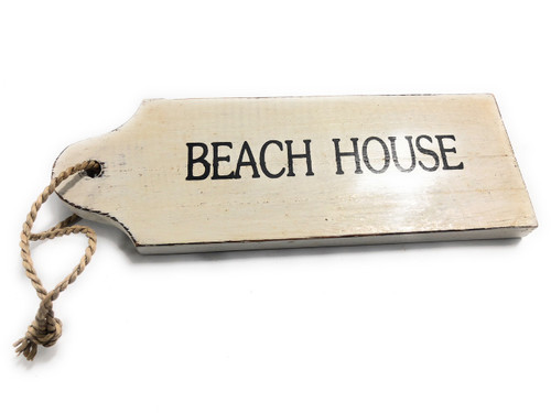 "Beach House Door Tag Wood Sign 9"" - Rustic Coastal 