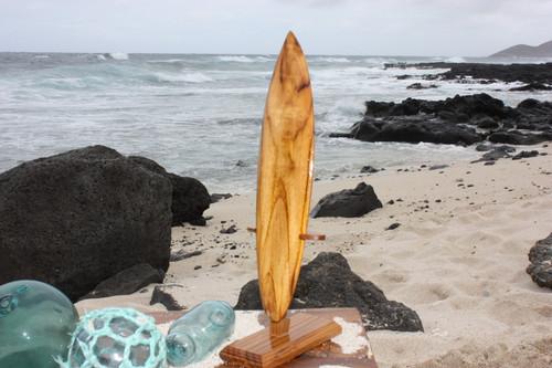 """Surfboard Trophy 12"""" w/ Base - Teak Root Wood   #sur18"""
